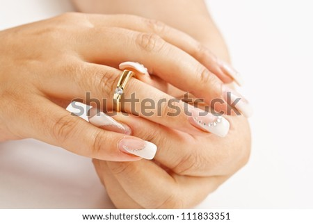 Woman tries on her beautiful ring