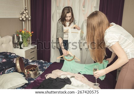 Woman trying on the dress