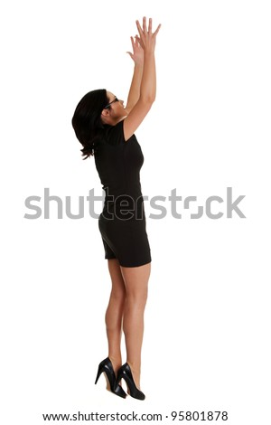 Woman trying to reach something with her hand , isolated on white background - stock photo