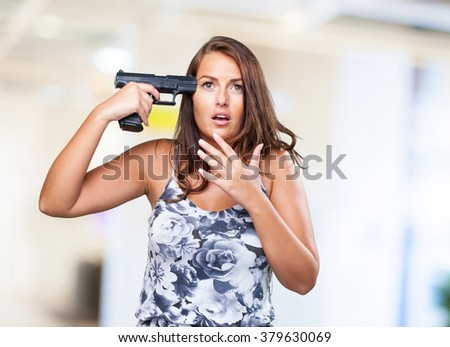 woman trying to suicide - stock photo