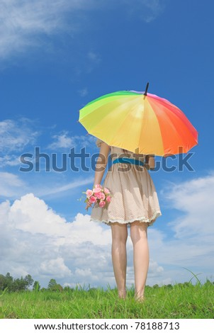 Woman umbrella and cloud sky in the morning