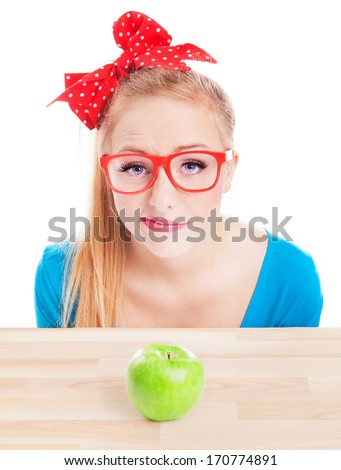 Woman unhappy with healthy food idea, dieting concept - stock photo