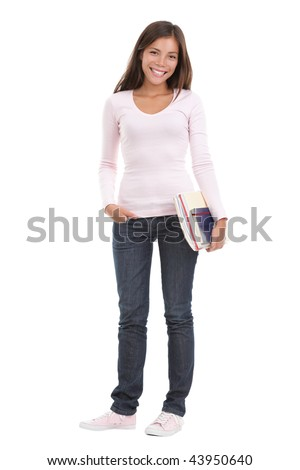 Woman university / college student. Full length image of female student holding books. Beautiful mixed race asian / caucasian model. Isolated on seamless white background. - stock photo