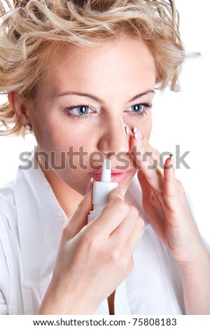 Woman  use an  bronchial inhale, studio shot - stock photo