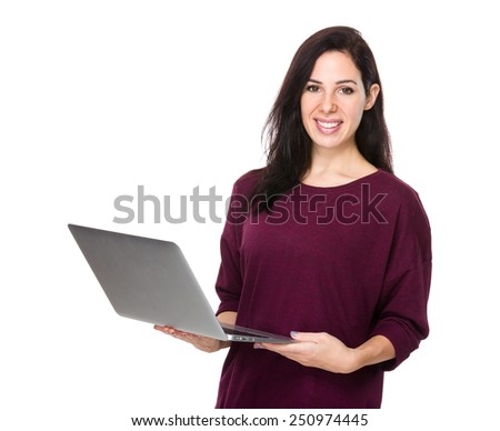 Woman use of notebook computer - stock photo