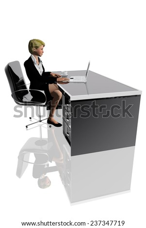 Woman using a laptop in the office - stock photo