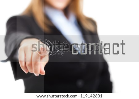 Woman using a touchscreen interface - stock photo