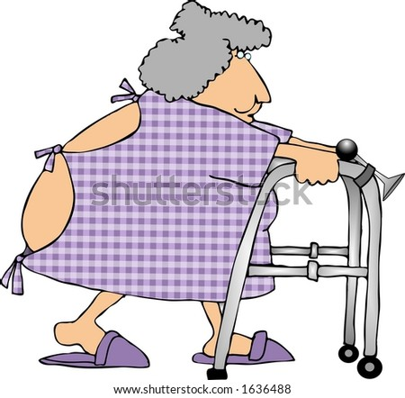 Woman using a walker - stock photo