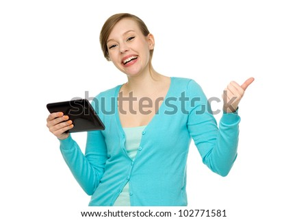 Woman using digital tablet - stock photo