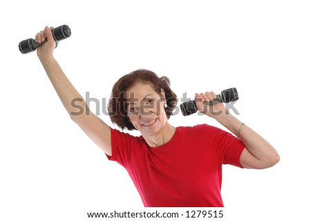 woman using dumbbells - stock photo