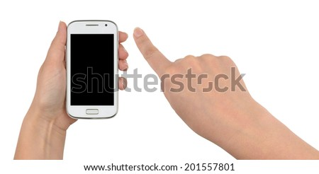 Woman using her smart phone, one hand holding a white smartphone, the other pointing forward down with its forefinger. Front view, isolated on white background, with clipping paths. - stock photo