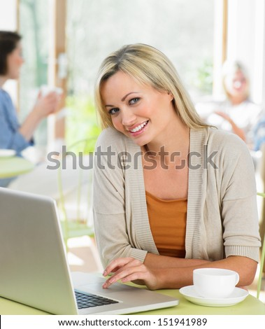 Woman Using Laptop In Cafe - stock photo
