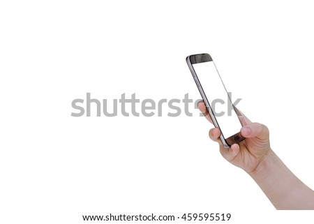 Woman using mobile smart phone isolated on white background,clipping path