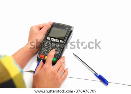 Woman Using Payment Terminal in a white background, Paying With Credit Card, Credit Card Reader, Finance Concept