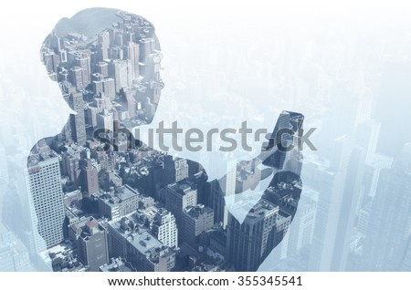 Woman using smart phone and New York city.   - stock photo