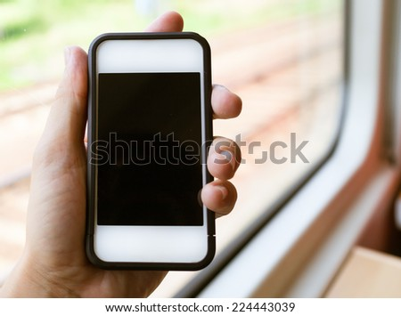Woman using smart phone mobile - stock photo