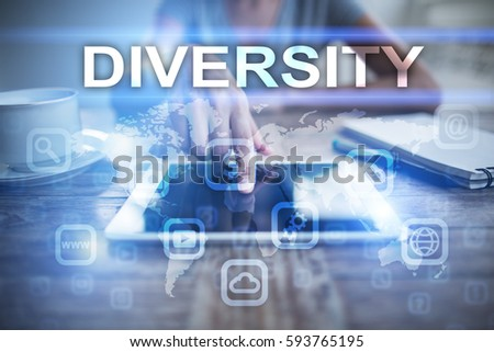 Woman using tablet pc, pressing on virtual screen and selecting diversity.