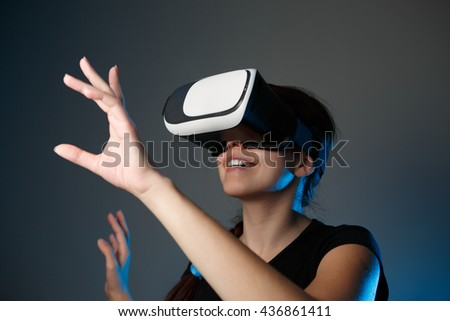 Woman using the virtual reality headset