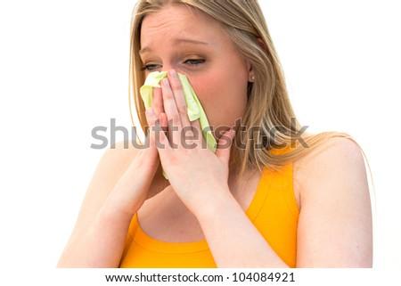 woman using tissue on white background - stock photo