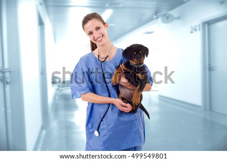 woman veterinary with a rottweiler puppy dog at the hospital