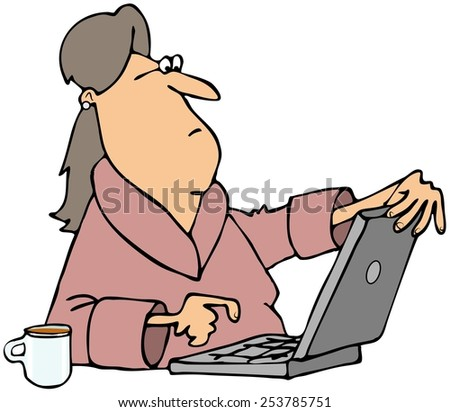 Woman viewing content on computer - stock photo