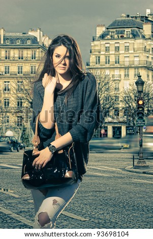 Woman visiting Paris in France - Champs Elysee - stock photo