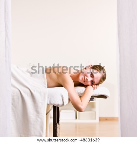 Woman waiting for massage - stock photo