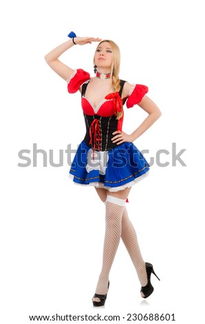 Woman waitress in oktoberfest concept - stock photo