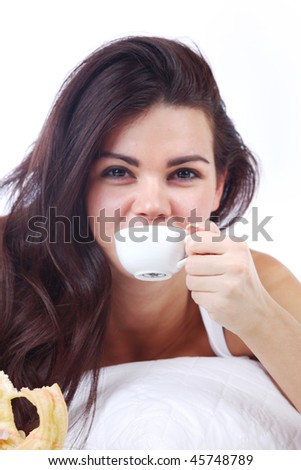 woman wake and see morning coffee