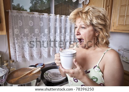 Woman waking up with a coffee (Dirty dishes)