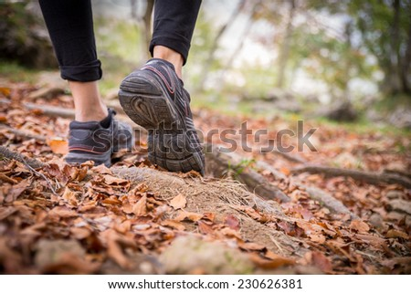 Woman walking on the path - Sportive girl running in a forest with autumn leaves - stock photo