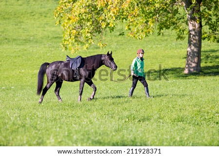 Woman walking with horse on green background outside - stock photo