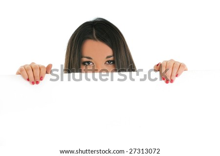 woman wall isolated copyspace boardad