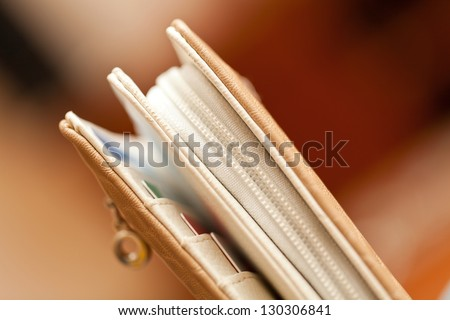 woman wallet with frame closed - stock photo