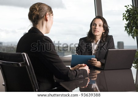 woman wants lend money from bank - stock photo