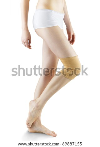 woman ware knee pad for relief support and protection isolated - stock photo