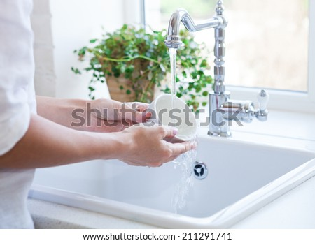 Woman washing dish in sink. Close up - stock photo