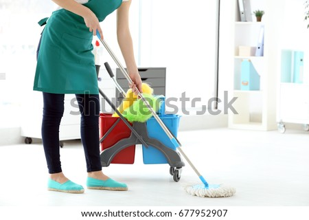 Woman Washing Floor Office Cleaning Service Stock Photo (Royalty Free)  677952907   Shutterstock