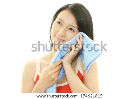 Woman washing her face - stock photo