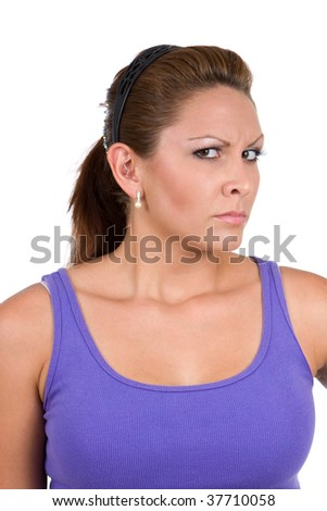 Woman watches with a suspecting gaze seeming not sure of the intentions. - stock photo