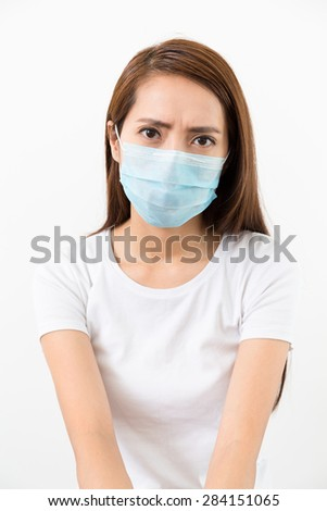 Woman wear mask with eye frown - stock photo