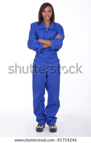 Woman wearing a boilersuit - stock photo