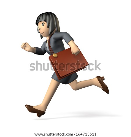 Woman wearing a business suit. She is running toward the left. - stock photo