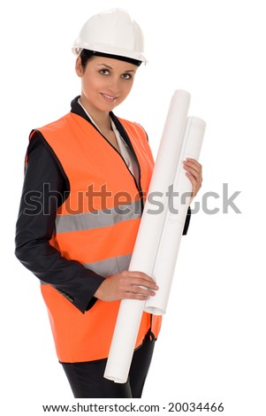 Woman wearing a hardhat holding plans - stock photo