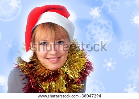 Woman wearing a santa hat on a white background