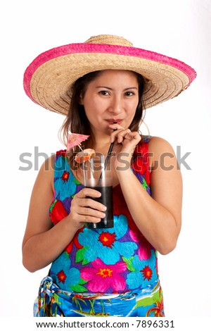 Woman wearing a summer clothing while sipping a cocktail drink