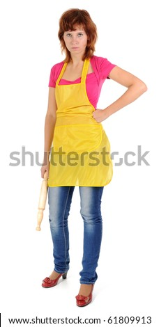 Woman Wearing Apron. Isolated on White - stock photo