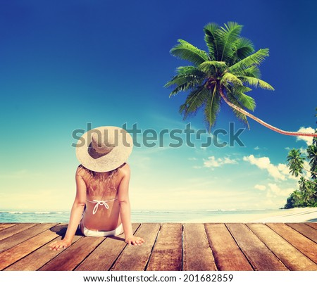 Woman Wearing Bikini in a Summer Vacation - stock photo