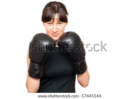 woman wearing boxing gloves isolated - stock photo