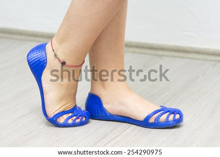Woman Wearing 3d Printed Shoes - stock photo